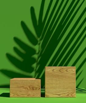 Pódio do produto com sombra de folha