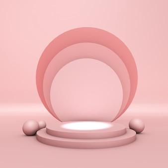 Pódio do produto, formas circulares, tons de rosa pastel