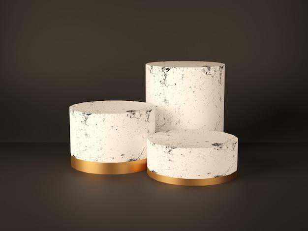 Pódio do produto, suporte, vitrine, mármore rosa e textura de ouro