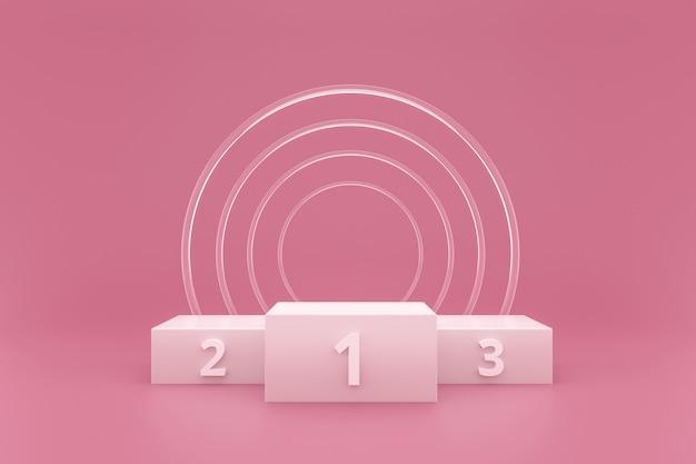 Pódio do vencedor ou exposição do suporte no fundo rosa com anel de vidro e conceito do sucesso.