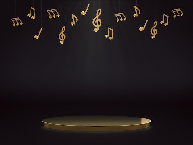 Pódio dourado para exposição de produtos com notas musicais douradas em fundo escuro. renderização 3d.