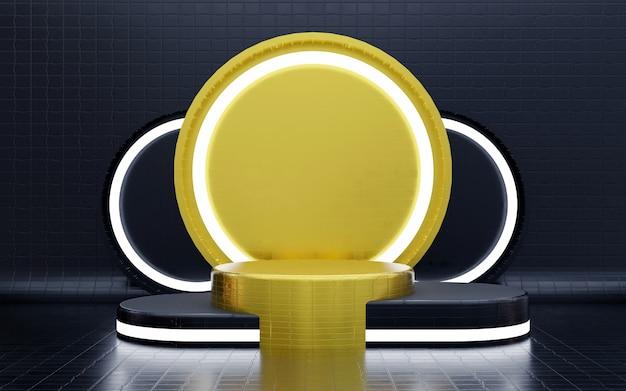 Pódio e fundo geométrico de luxo em azul e ouro com um pódio de luz de néon de três níveis para apresentações de produtos. renderização 3d.