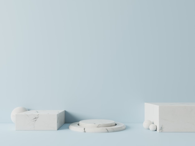 Pódio em abstrato para colocação de produtos e colocação de prêmios em azul, renderização em 3d