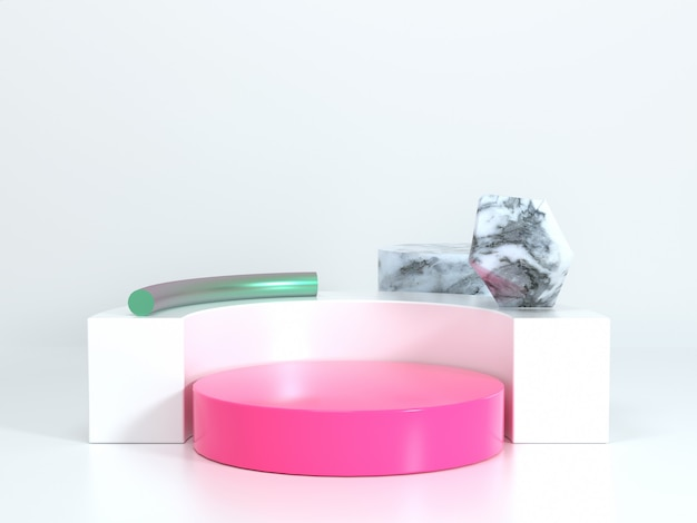Pódio em branco geométrica renderização em 3d cena rosa branca e textura de mármore
