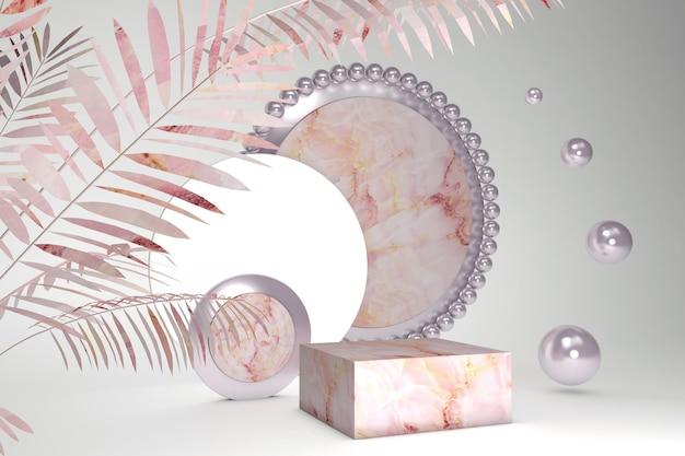 Pódio em mármore pastel, plataforma para promoção da marca