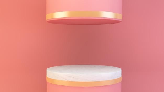 Pódio em renderização 3d de composição rosa abstrata