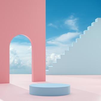 Pódio em um fundo de pêssego com céu azul e nuvens em um dia ensolarado renderização em 3d