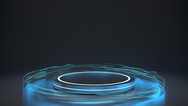 Pódio futurista com luzes brilhantes do redemoinho circular
