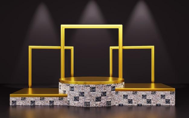 Pódio geomátrico luxuoso em preto e dourado com moldura para apresentações de produtos. renderização 3d. fundo escuro.