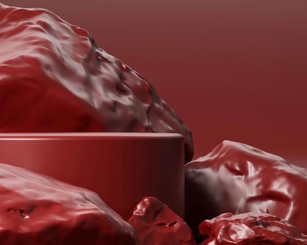 Pódio geométrico abstrato com forma realista de pedra e rocha. use para apresentações de cosméticos ou produtos. renderização 3d e ilustração