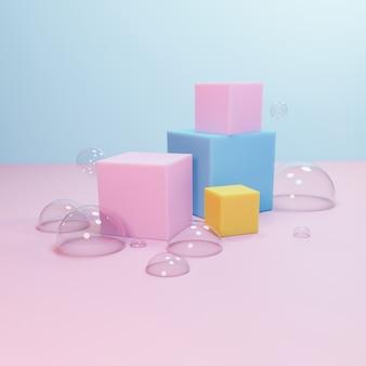 Pódio geométrico abstrato, modelo de vitrine vazia minimalista em branco, exibição de loja art deco, cores pastel. 3d rendem.