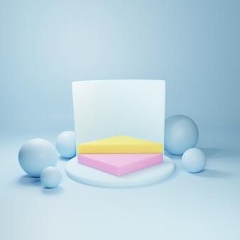 Pódio geométrico abstrato, modelo de vitrine vazia minimalista em branco, exibição de loja de arte deco moderna, cores pastel. 3d rendem.