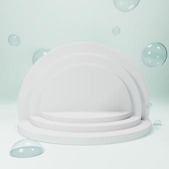 Pódio geométrico abstrato, modelo de vitrine vazia minimalista em branco, exibição de loja de arte deco moderna, cores pastel. renderização em 3d.