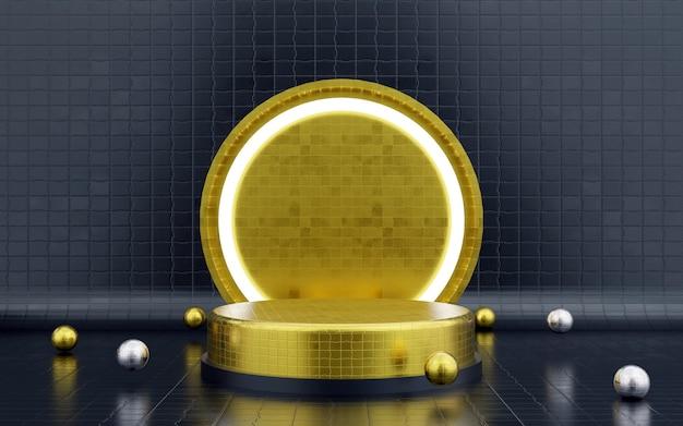 Pódio geométrico azul e dourado de luxo e fundo com um pódio de luz de néon para apresentações de produtos. renderização 3d.