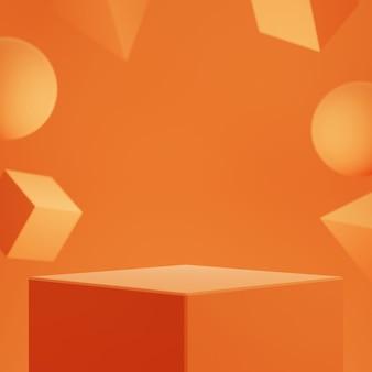 Pódio geométrico com fundo de forma geométrica para exposição do produto.