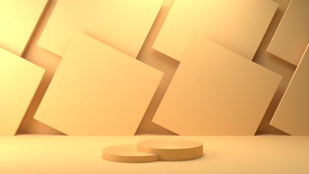 Pódio geométrico de renderização 3d e fundo quadrado