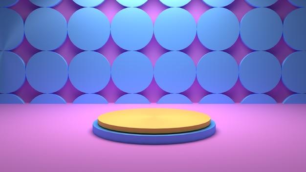 Pódio geométrico de renderização 3d e fundo redondo