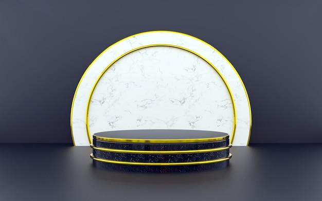 Pódio geométrico luxuoso em azul e dourado para apresentações de produtos. renderização 3d. fundo escuro.