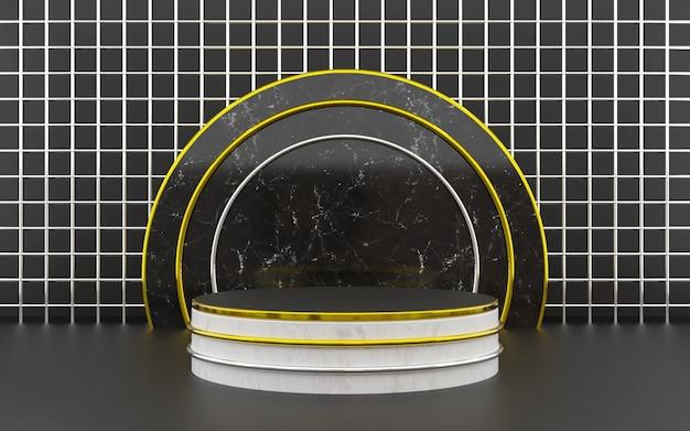 Pódio geométrico luxuoso em preto e branco para apresentações de produtos. renderização 3d. fundo escuro.