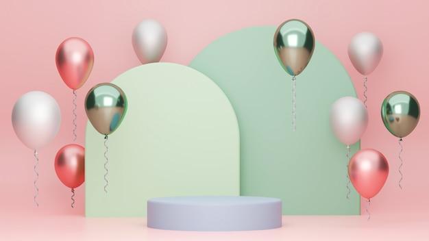 Pódio geométrico para seus balões de marca fundo geométrico verde pastel e fundo rosa
