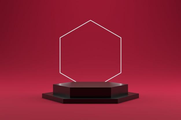 Pódio hexagonal empilhado preto e anel hexagonal em fundo gradiente rosa.