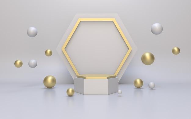 Pódio hexágono branco e dourado vazio para exibição de produto com esfera