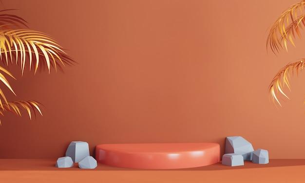 Pódio laranja com pedras e plantas tropicais douradas