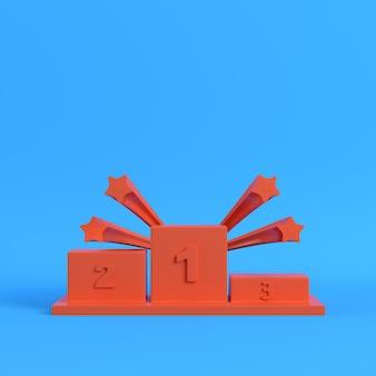 Pódio laranja dos vencedores com estrelas em fundo azul brilhante
