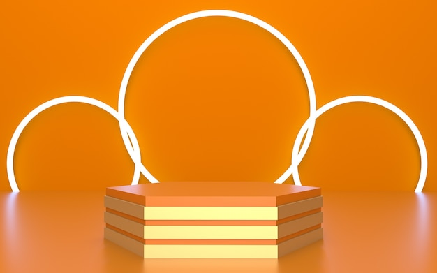 Pódio laranja vazio com tiras douradas