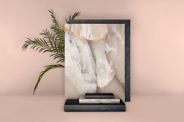 Pódio luxuoso em mármore bege e preto com folhas de palmeira em fundo pastel.