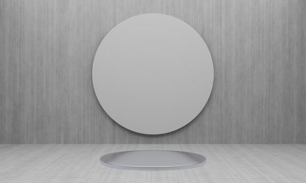 Pódio metálico cinza renderizado em 3d com fundo de parede de cimento