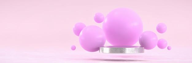 Pódio metálico prateado e bolha de esfera rosa para publicidade e propaganda de produtos, renderização 3d.