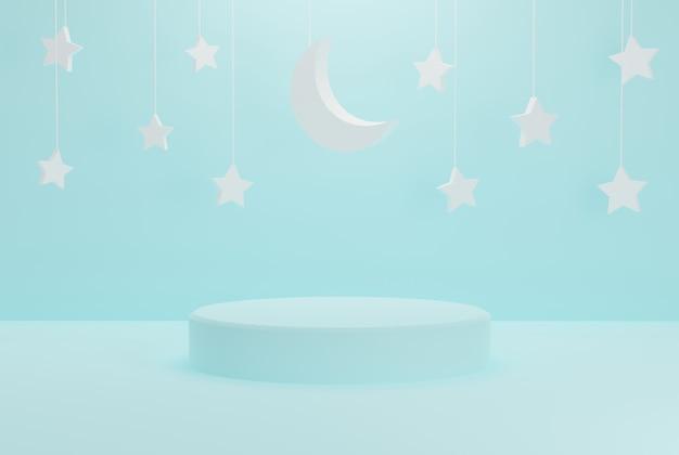 Pódio minimalista de céu azul com estrelas ramadan kareem para eventos, feriados e etc. ilustração 3d