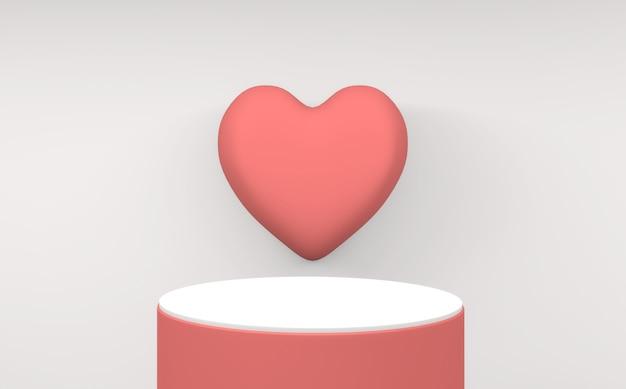 Pódio minimalista dos namorados rosa em fundo branco. renderização 3d
