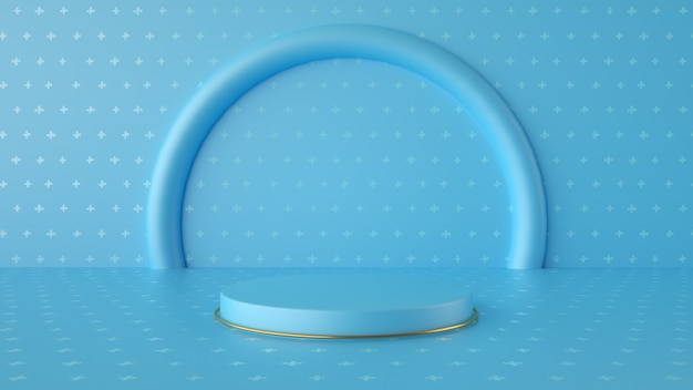 Pódio minimalista em azul e ouro para exibição