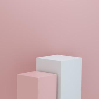 Pódio minimalista para exposição de produtos em fundo rosa com espaço para texto. plataforma vazia do pódio. renderização 3d.