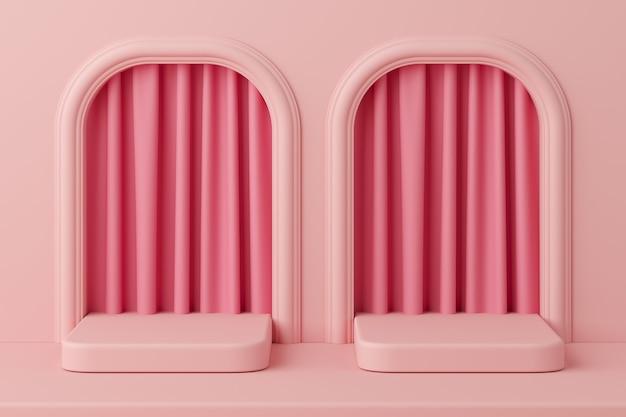 Pódio mínimo da cor do rosa do conceito com a cortina para o produto. renderização em 3d
