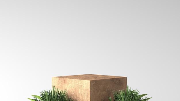 Pódio mínimo da mostra da caixa de madeira fina marrom com folhas no fundo branco