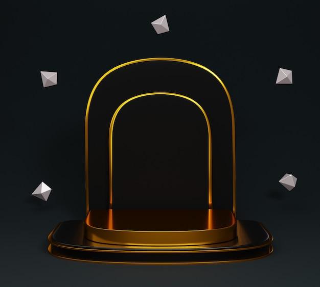 Pódio mínimo de ouro 3d com diamante flutuante em preto