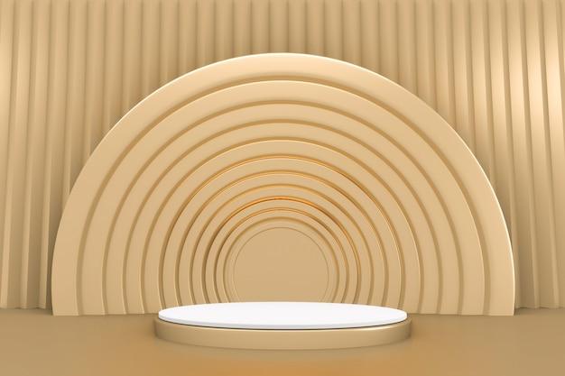 Pódio mínimo de ouro com borda dourada para produto em fundo branco. renderização 3d