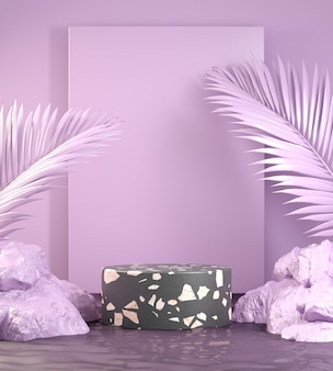Pódio mínimo de terrazzo preto em fundo violeta