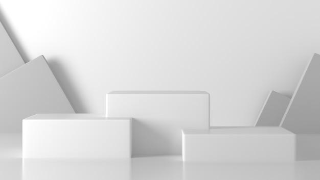 Pódio mínimo de três caixas brancas em abstrato branco.