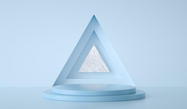 Pódio mínimo do modelo no triângulo e fundo verde d render