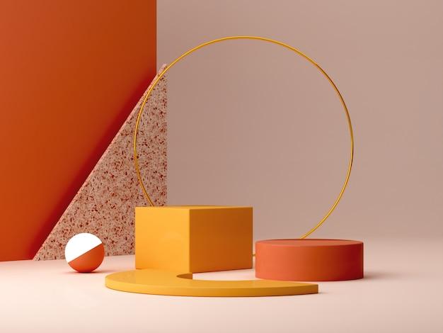 Pódio mínimo em cores ocres. cena com formas geométricas. anel de ouro, parede de tijoleira, esfera com luz e caixas. laranja e amarela, cena de outono.