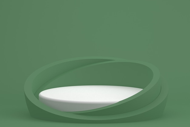 Pódio mínimo na apresentação do produto de fundo verde