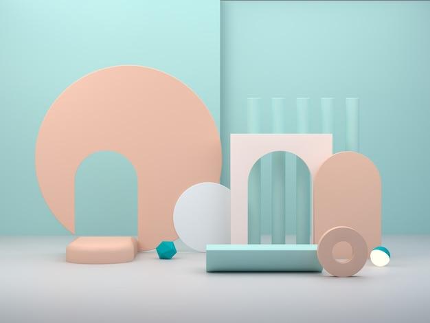 Pódio mínimo para mostrar um produto em cena vazia com arcos e formas primitivas