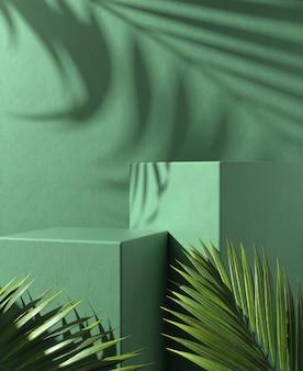 Pódio moderno com degraus verdes mínimos com folhas
