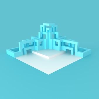 Pódio moderno geométrico abstrato com ilustração 3d de estruturas de tubo em desenvolvimento