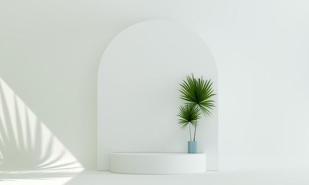 Pódio moderno mock up decoração e móveis e fundo de textura de parede branca design de interiores