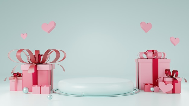 Pódio mostrando produtos em azul claro com elemento de coração, bola e caixa de presente. ilustração de plano de fundo para o conceito de dia dos namorados. renderização 3d.